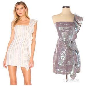 TULAROSA Cait Mini Dress Sequin One Shoulder Short